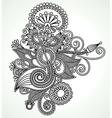 Hand draw line art ornate flower design Ukrainian vector image