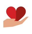 hand holds heart love sing vector image