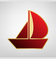 sail boat sign red icon on gold sticker vector image