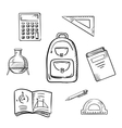 School sketch icons with education supplies vector image