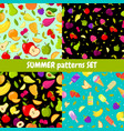 seamless summer patterns set colorful vector image