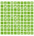 100 yoga studio icons set grunge green vector image