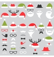 Set of Santa hats mustache and beards vector image vector image