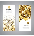 Gold sparkles on white backround Golden banners vector image