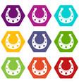 horseshoe icon set color hexahedron vector image