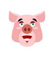 pig happy emoji piggy merry emotion on white vector image