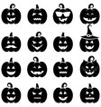 set of black Halloween pumpkin icons vector image