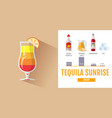 flat style cocktail tequila sunrise menu vector image
