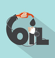 Fuel Nozzle In Hand With Oil Typography Design vector image