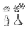 Flask burner bottle and molecule icons sketch vector image vector image