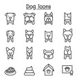 dog icon set in thin line style vector image