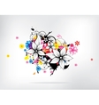 Floral spring elements with swirls and flowers vector image