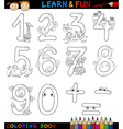 numbers with cartoon animals for coloring vector image