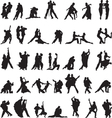 Set of silhouettes of couples dancing tango vector image