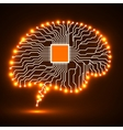 Neon brain Cpu Circuit board Abstract vector image