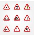 set of traffic signs warnings vector image vector image