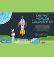 Distant worlds colonization background vector