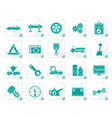 stylized car services and transportation icons vector image vector image