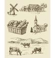farm and animals hand drawn vector image