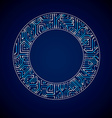 abstract computer glare circuit board blue round vector image