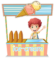 A boy selling ice cream vector image