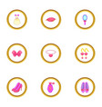 doll princess icons set cartoon style vector image