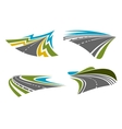 Mountain rural coastal roads and highways icons vector image