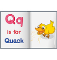 A picture of a duck in a book vector image vector image