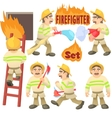 Fireman concept set cartoon style vector image