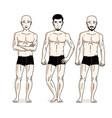 handsome men group standing in black underwear vector image