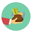 Hand giving money - concept of a credit or loan vector image vector image