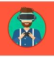 Man wearing virtual reality headset vector image