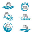 abstract seal icons set vector image