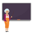 cartoon old female teacher standing in front of vector image