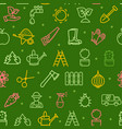 gardening seamless pattern background on a green vector image
