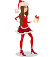 girl santa claus cartoon vector image