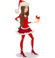 girl santa claus cartoon vector image