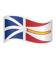 Newfoundland and labrador flag wavy white backdrop vector image