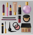 realistic cosmetic paks make-up bottle luxury vector image