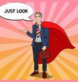 pop art happy super businessman in red cape vector image vector image
