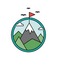 retro success circular icon with mountain and flag vector image