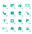 stylized construction and building equipment icons vector image vector image