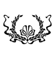 Black and white foliate wreath with a ribbon vector image vector image