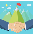 Shaking hands mountains vector image