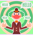 Background with happy greeting clown in costume vector image