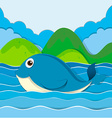 Blue whale swimming in the ocean vector image
