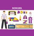 bowling sport equipment bowler player garment vector image