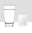 Glass of water and pocket of medicine isolated on vector image