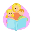 Mother reading book to her children vector image