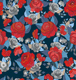 Seamless floral pattern with red flowers vector image